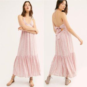 Free People Audrey Halter Dress in pink combo